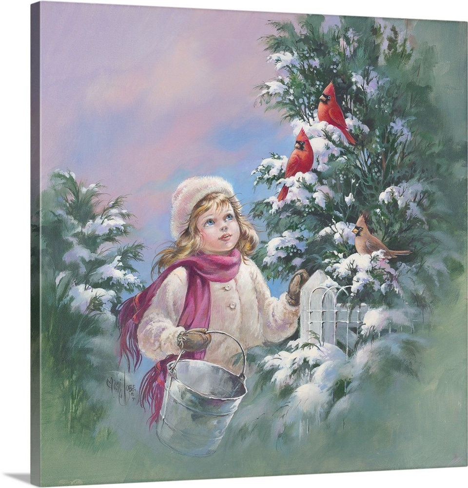 Young girl and winter birds