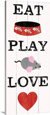 Cat Eat Play Love heart