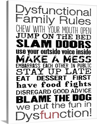 Dysfunctional Family Rules on white