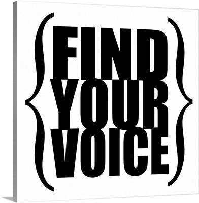 Find Your Voice square, black on white