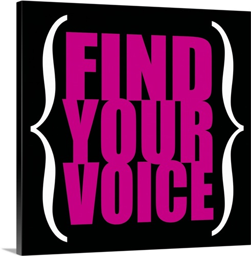 Find Your Voice, square pink on black Wall Art, Canvas Prints ...