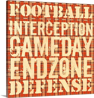 Football Typography Art - Orange