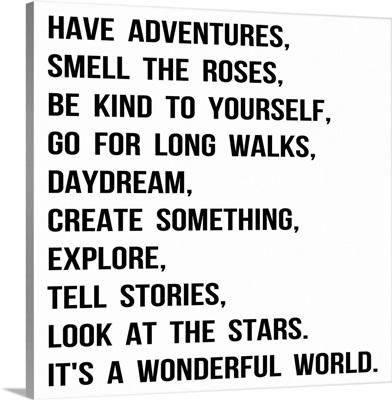 Have Adventures, black on white