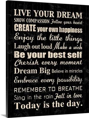Live Your Dream, square black