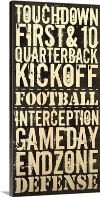 Touchdown Typography Art - Black and White