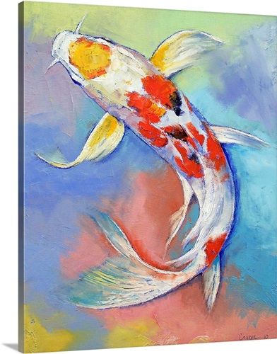 Butterfly koi fish wall art canvas prints framed prints for Koi carp wall art