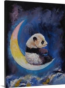 Panda Crescent Moon Children S Art Wall Art Canvas