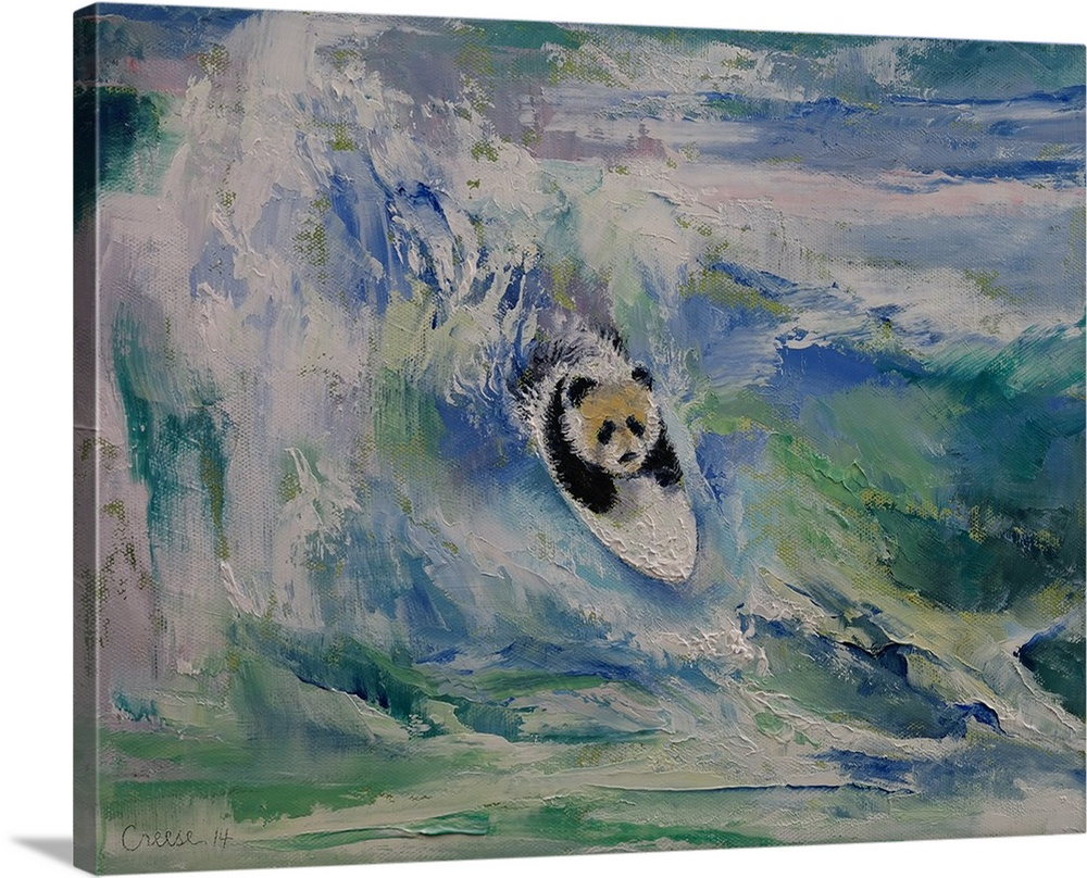 Panda Surfer Wall Art Canvas Prints Framed Prints Wall Peels Great Big Canvas