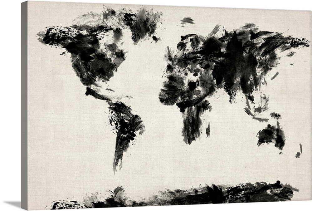 Black And White World Map Framed.Abstract Black And White World Map Wall Art Canvas Prints Framed