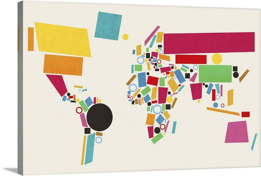 Abstract Map Of The World.Abstract Map Of The World Made Up Of Geometric Shapes Wall Art