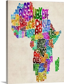 African Countries Text Map, Multicolor
