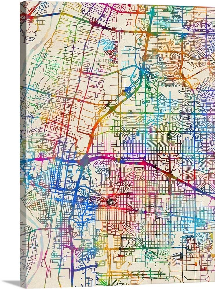 Albuquerque New Mexico City Street Map Wall Art Canvas Prints