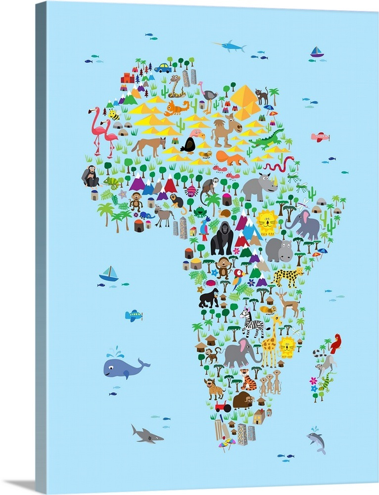 Animal Map of Africa for Kids Wall Art, Canvas Prints, Framed