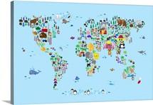 Animal Map of the World for children, Light Blue