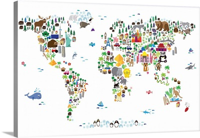 Animal Map of the World for children, White
