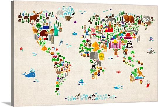 Animal world map wall art canvas prints framed prints wall peels animal world map gumiabroncs Choice Image
