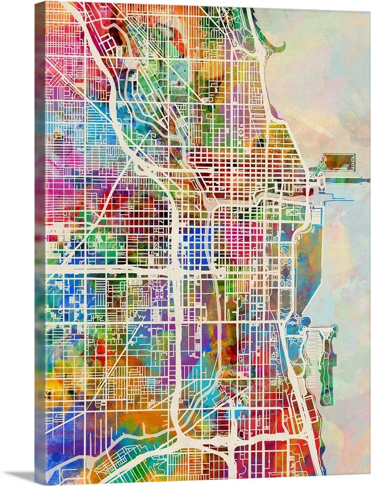 Chicago Map Wall Art Chicago City Street Map Wall Art, Canvas Prints, Framed Prints