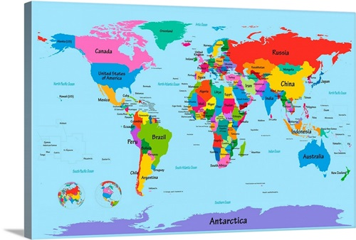 Children S Art Map Of The World Wall Art Canvas Prints Framed Prints Wall Peels Great Big Canvas