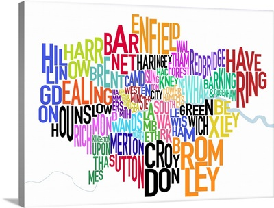 Colored text map of London showing borough names