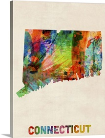 Connecticut Watercolor Map