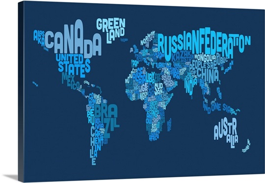 Country names world map blue wall art canvas prints framed prints country names world map blue gumiabroncs Gallery