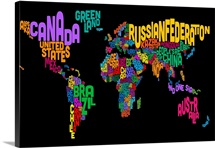 Country Names World Map, Multicolor on Black