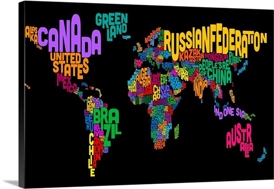 Country Names World Map Multicolor On Black Wall Art Canvas - World map with country name