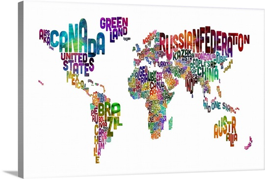 Country Names World Map Multicolor On White Wall Art Canvas - Word map with country name