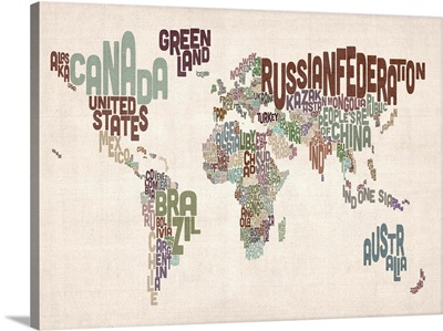 Country Names World Map, Muted Colors on Parchment