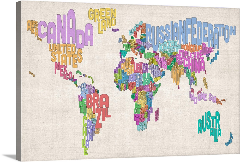 Country Names World Map Pastel Colors on Parchment Wall Art
