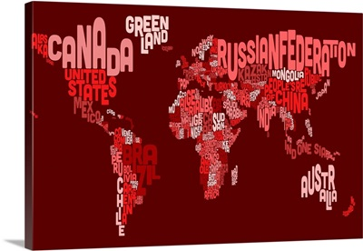 Country Names World Map, Red
