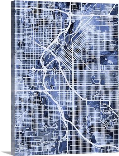 Denver Colorado Street Map Wall Art, Canvas Prints, Framed Prints ...