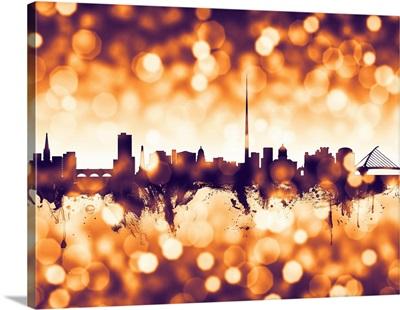 Dublin Ireland Skyline, Orange Bokeh