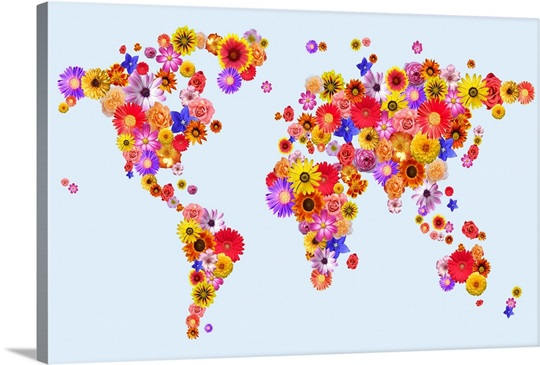 Flower world map wall art canvas prints framed prints wall peels flower world map canvas gumiabroncs Image collections