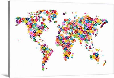 Flowers Map of the World, White Background
