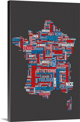 French Cities Text Map, French Colors on Grey