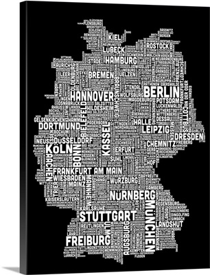 German Cities Text Map, Black and White