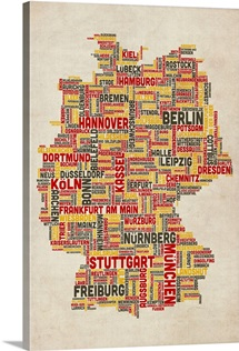 German Cities Text Map, German Colors on Parchment