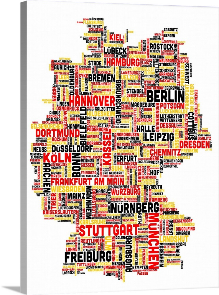 German Cities Text Map, German Colors on White