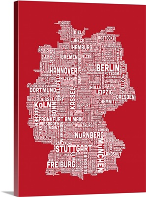 German Cities Text Map, Red