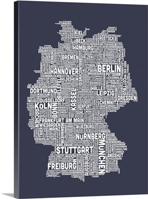 German Cities Text Map, Slate