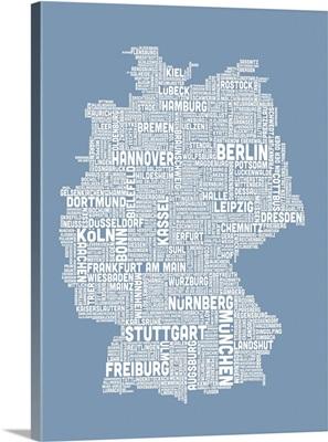 German Cities Text Map, Steel