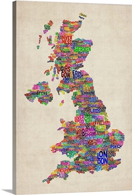 Great Britain UK City Text Map, Colorful