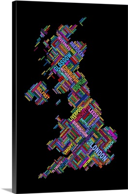 Great Britain UK City Text Map, Diagonal Text, Black Background