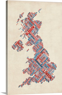 Great Britain UK City Text Map, Diagonal Text, Blue and Red