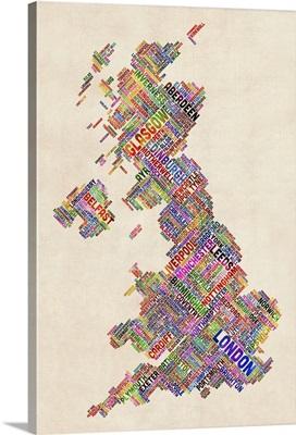 Great Britain UK City Text Map, Diagonal Text, Colorful