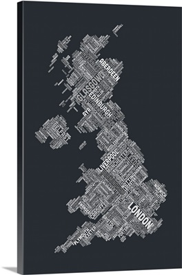 Great Britain UK City Text Map, Diagonal Text, Grayscale