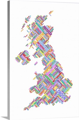 Great Britain UK City Text Map, Diagonal Text, White Background