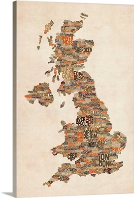 Great Britain UK City Text Map, Earth Tones