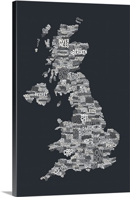 Great Britain UK City Text Map, Grayscale